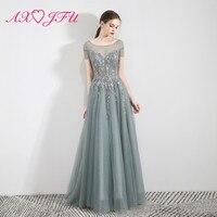 7299a8a74 AXJFU Princess O Neck Beading Flower Lace Grey Evening Dress Luxury Vintage  Illusion A Line Beach