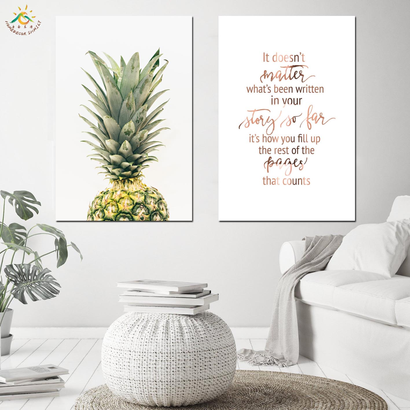 Nordic Poster Fruit Pineapple Picture Posters and Prints Canvas Art Scroll Painting Wall Art Pitures Home Decor For Living Room in Painting Calligraphy from Home Garden