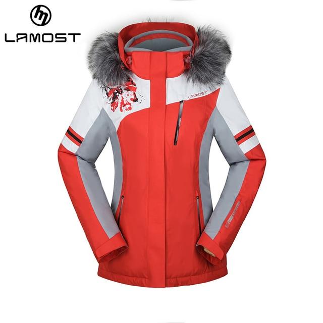 LAMOST Fur Ski Jacket Women's Outdoor Snow Jacket Lamost Branded Ski Impressive Patterned Ski Jackets