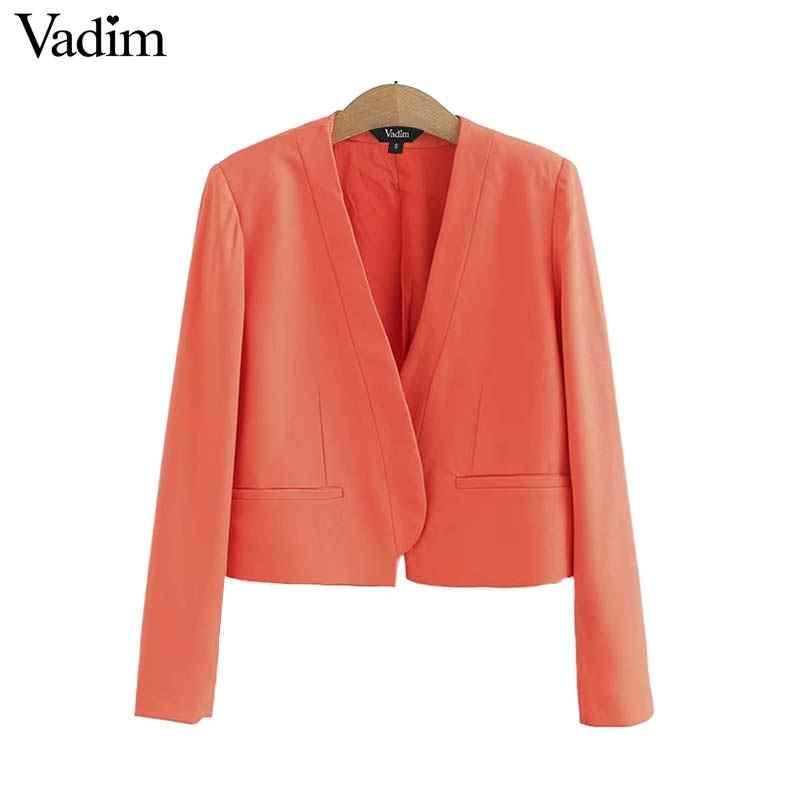 Vadim frauen büro tragen v-ausschnitt blazer taschen schmücken langarm weibliche casual mäntel kurze stil oberbekleidung solide tops CA373