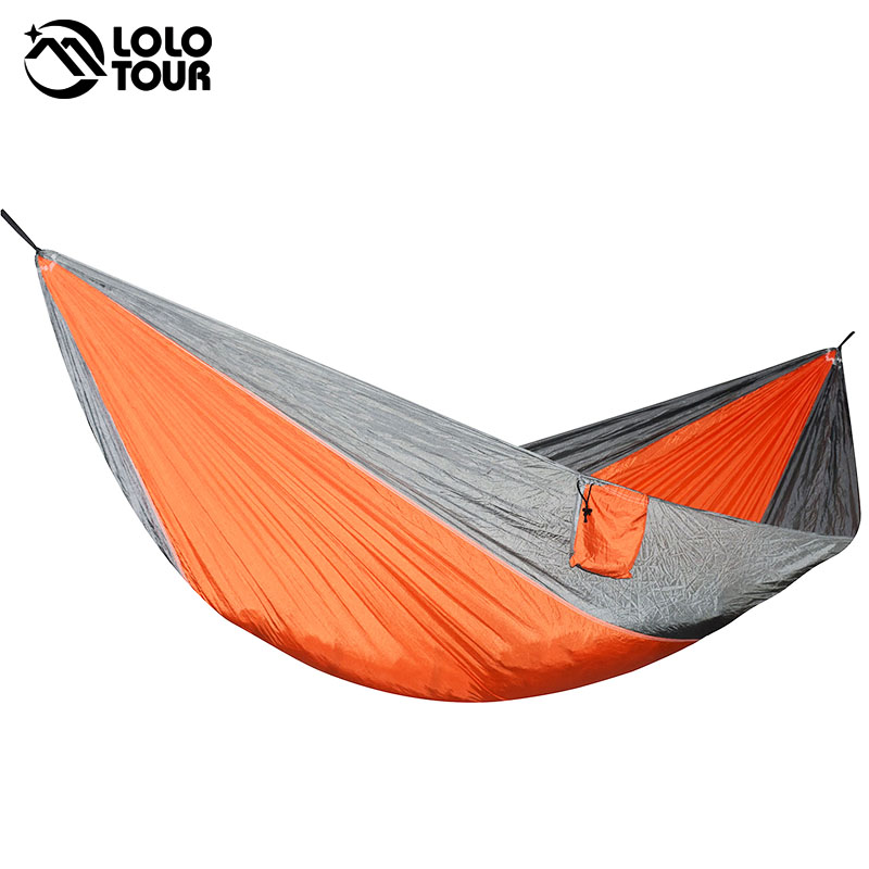 Portátil ligero paracaídas de nailon doble hamaca multifuncional 2 personas Hamak Camping Backpacking viaje playa patio jardín