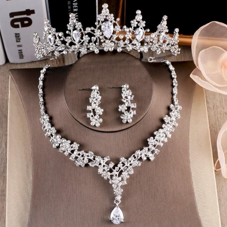 Brautschmuck Sets GemäßIgt Luxus Funken Cubic Zirkon Crown Ohrringe Halskette Partei Schmuck Set Strass Braut Schmuck Sets Hochzeit Zubehör Reisen