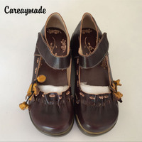 Hot 2016 Folk Style Head Layer Cowhide Pure Handmade Carved Shoes The Retro Art Mori Girl