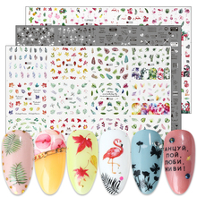 36pc Green Leaf Flamingo Stickers For Nails Letter Black White Flower Water Transfer Decal Wraps Slider Manicure Set BEA1513 156