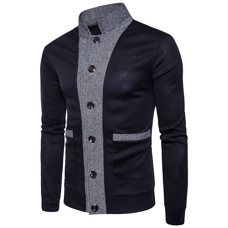 The Fall Of New Men's Classic Color Cardigan Sweater Cuff Placket