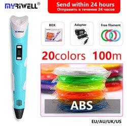 Myriwell 3d długopis rp-100b i 20 kolorów 1.75mm 3d filament z bezpłatnym pla 3d długopis 3 d długopis 3d uchwyt inteligentny prezent dla dziecka zabawki 1.75mm