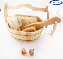 4PCS Bath Set Body Care Bathroom Accessories Foot File Pumice Stone Sisal Sponge Bath Brush Bath Wooden Basket Set