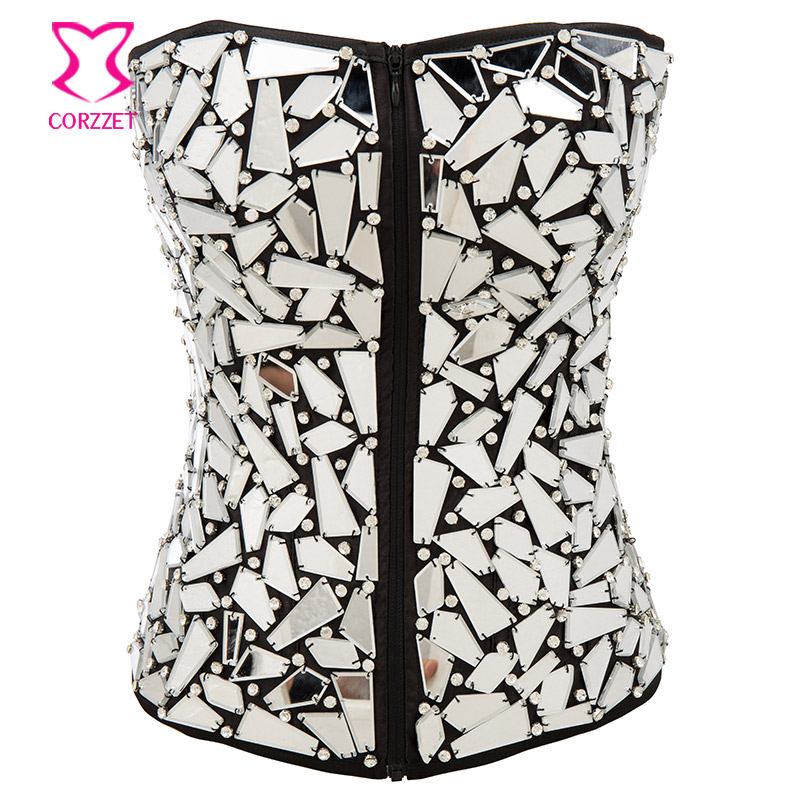 Punk Satin and Shiny Mirror With Rhinestone Gothic   Corset   Sexy Korsetto for Women Zipper Corselet Burlesque   Corsets   and   Bustiers