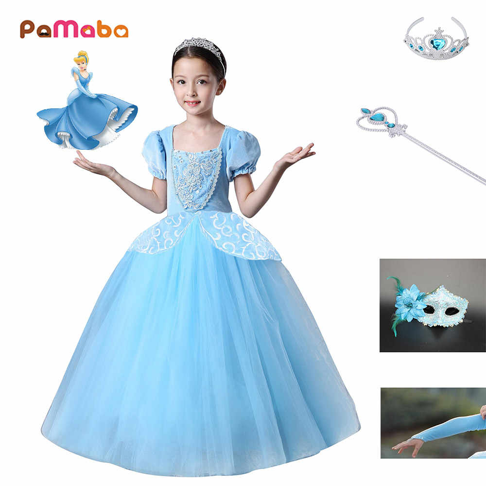 e2a3c9a8ad PaMaBa Cinderella Girls Princess Dress Cosplay Costume Halloween Party  Supplies Baby Girl Clothes with Mask Gloves