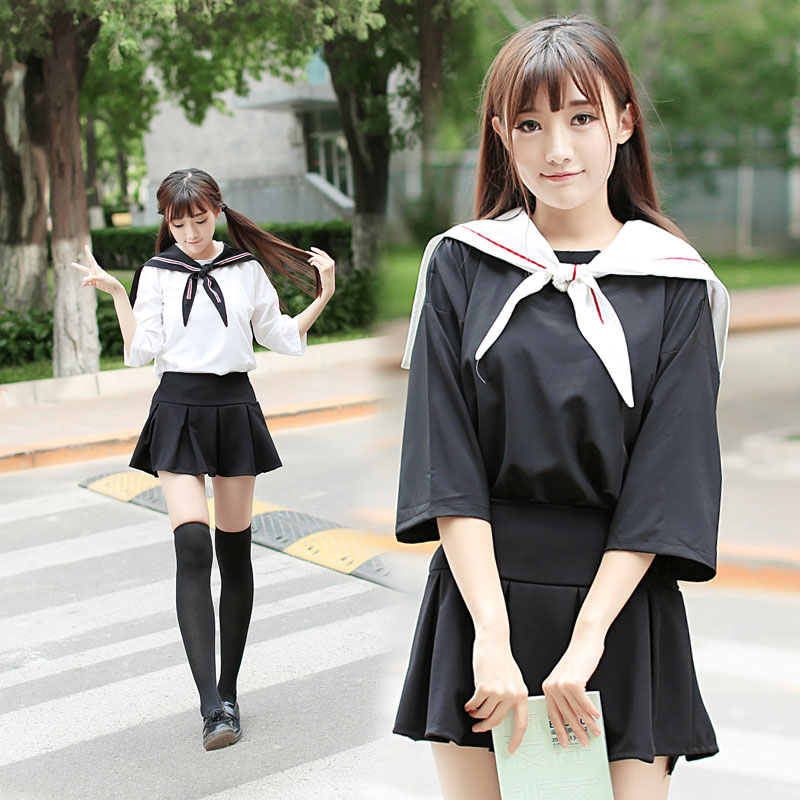 2017 Summer Students Class Sailor Suit Dolly skirt Japanese and korean school uniform for ...