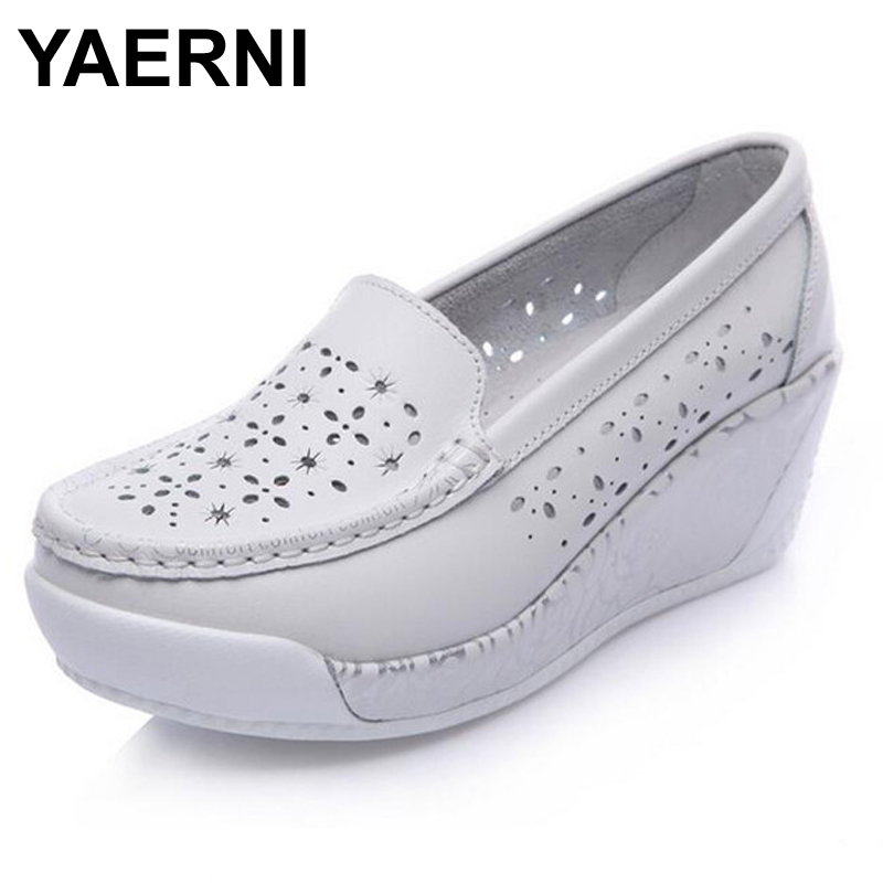 YAERNI Breathable Comfortable Women's Flats 2017 New Arrival Split Leather Shoes Women Summer Spring Hollow Platform Boat Shoes new 2018 spring summer shoes women flats soft leather fashion women s casual brand shoes breathable comfortable