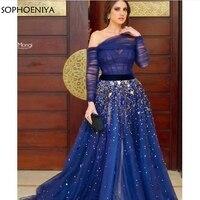 Новое поступление с открытыми плечами ярко синее платье вечернее 2019 длинный рукав, мусульманский вечернее платье халат вечер Дубай