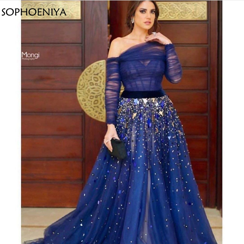 New Arrival Off the shoulder Royal blue   dress     Evening   2019 Long sleeve muslim   evening     dress   Robe soiree dubai