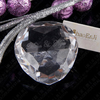 50mm Beautiful K9 Clear Crystal Heart Shape Diamonds Paperweight With Customized Love Words For Wedding