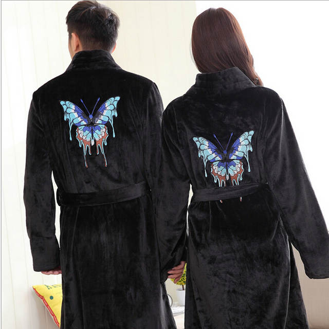 Winter Thick Warm Women Robes 2017 Butterfly Embroidery Coral Fleece Couple Bathrobes  Hotel Spa Plush Long e19218ebe