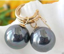14mm Tahitian Rainbow Black South Sea Shell Pearl Earring Earring jewelry women Wonderful 2018 new hot charming pair of 10mm real round south sea pink pearl earring