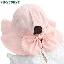 Hat Sunscreen-Cap Fisherman-Hat Bowknot Spring Toddler Baby-Girls Kids Children Summer
