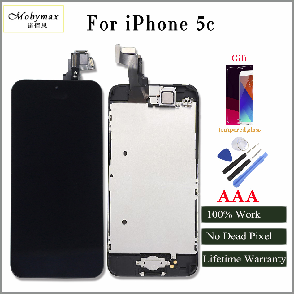 Moybmax factory promotion Full Asscembly lcd digitizer screen for iphone 5c with Home Button+Front Camera+Frame+gifts