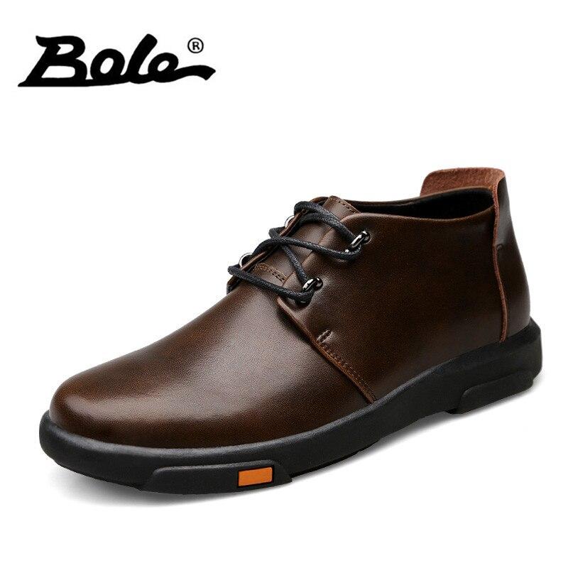 BOLE Autumn Handmade Leather Men Shoes Fashion High-top Breathable Men Causal Shoes England Retro Style Lace Up Shoes Men Flats