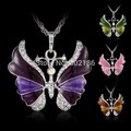 6 Colors  Clear Crystals Long Chain Gothic Necklace Jewelry Gift Sweater Necklace Enamel Butterfly Insects Charm Vintage Pendant