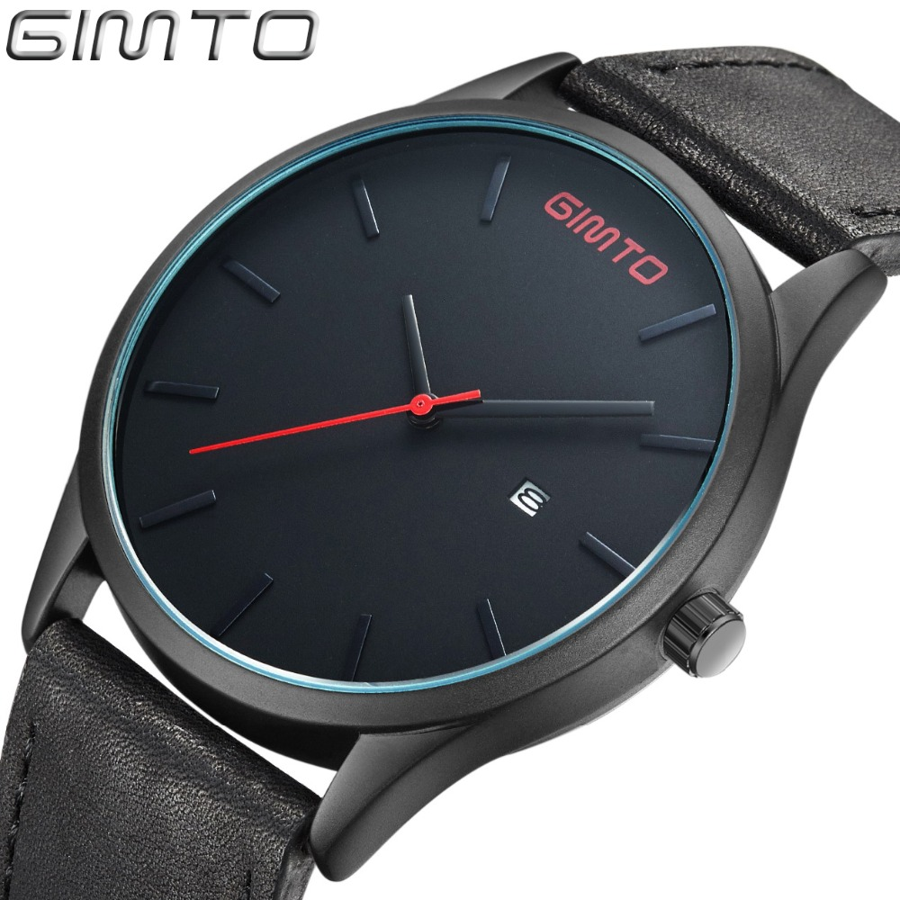 GIMTO NEW Luxury Brand Simple Quartz Sport Watches font b Men b font Military Casual Leather