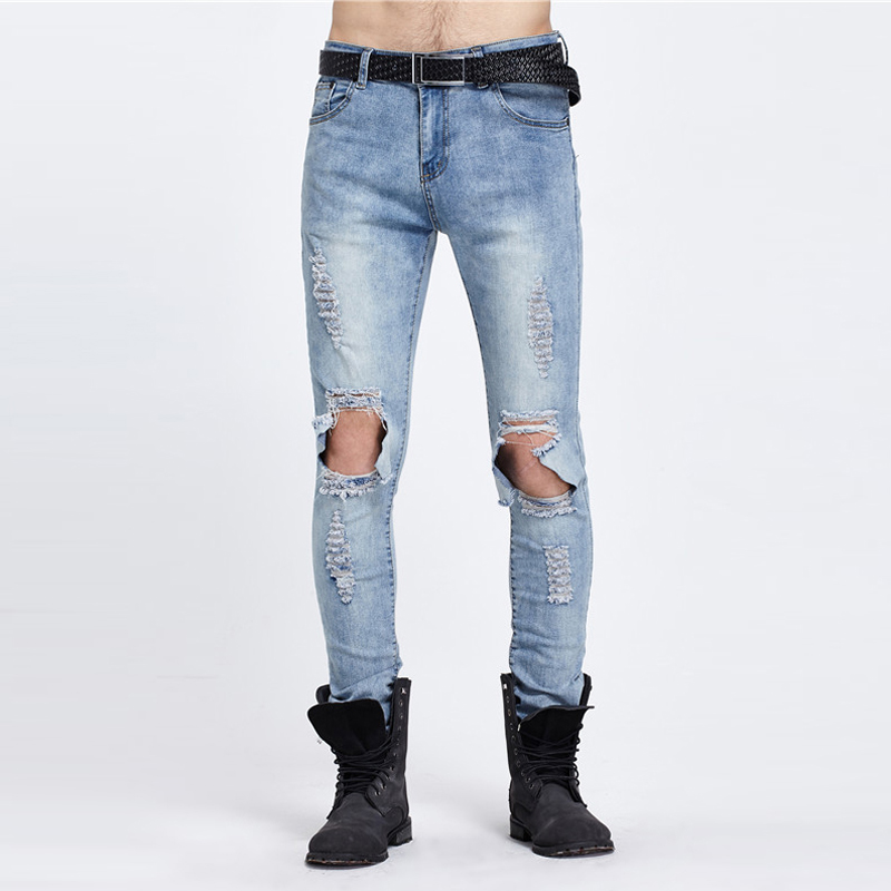 2017 New Spring Man Hole Jeans Male Korean High Street Wholesale Design Tide Brand Personality Hot Sale Jeans