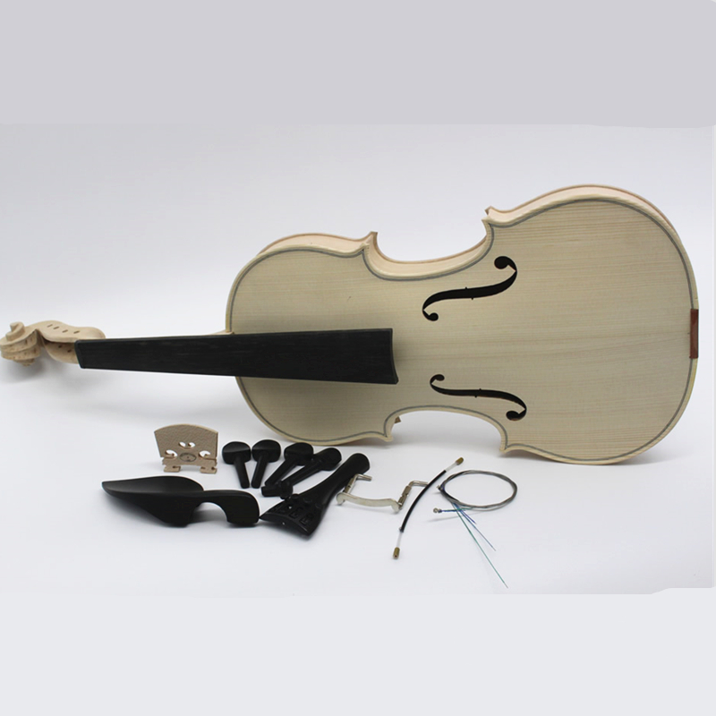 High Quality Factory Unfinished White Violin Selective 10 Years Natural Dried Maple Back Spruce Top Handmade Violino Full Size