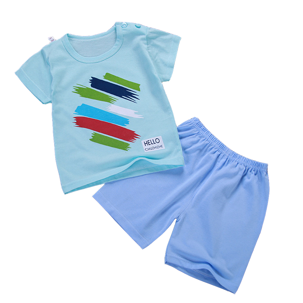 2 Pcs Children's Clothing Set Tees With Pants Short Clothes For Summer Kids T-Shirts Panties A101 Cotton Clothes For Girls Boys kids clothes summer brand t shirt boys girls t shirts kids polo shirts children classic sport cheaper tees short sleeve clothing