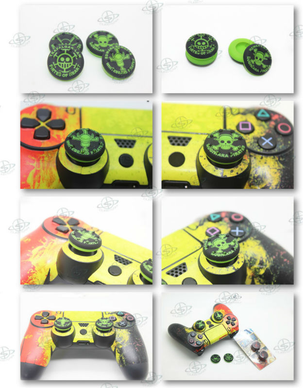 One Piece Style Green silicone thumbstick grips for PS4 games controller mod kit parts