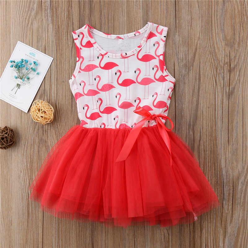 92178ec069a6 ... Toddler Newborn Kid Baby Girls Sweet Princess Animal Flamingo Sleeveless  O-Neck Bow Lace Tutu ...