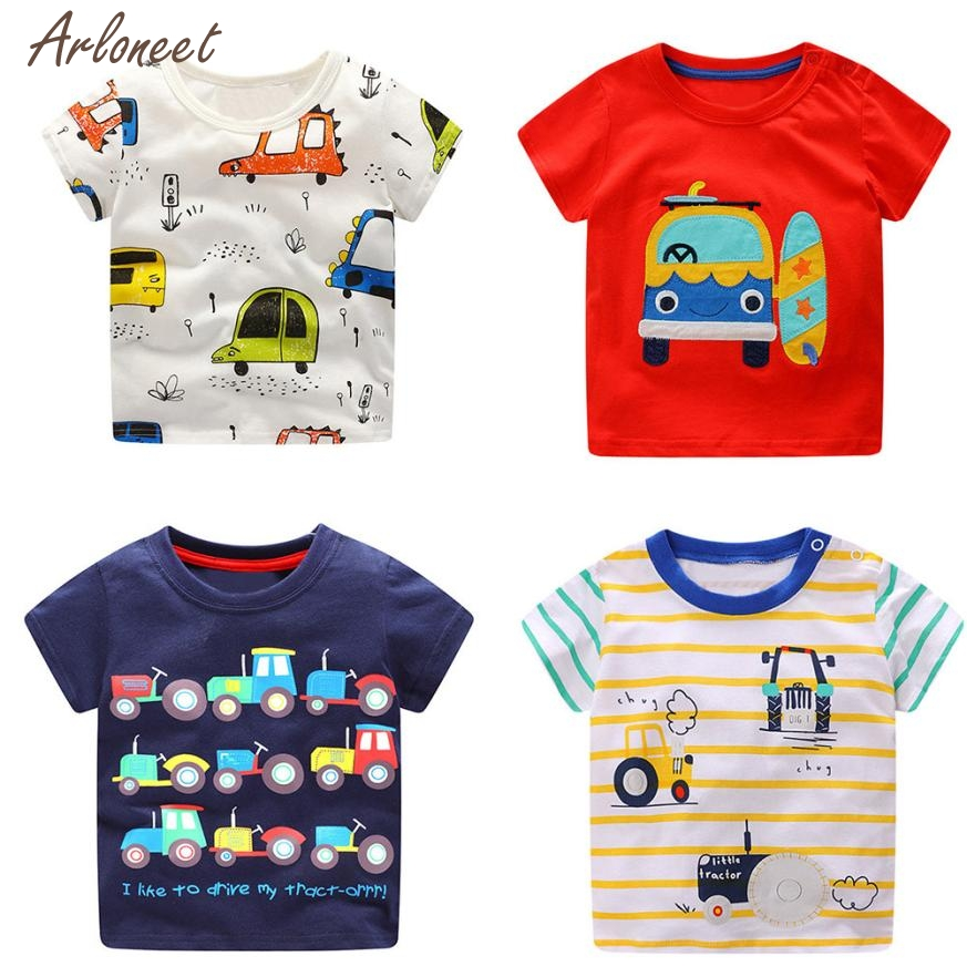 2018 funny baby t shirts Cotton Toddler Kids Baby Boys Clothes Short Sleeve Cartoon Car Pattern Tops T-Shirt Blouse FEB1 hot sale kids t shirts cartoon streetwear short sleeve casual o neck boys and girl t shirts tops funny children t shirt homme