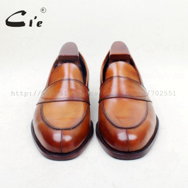 Cie Gratis Verzending Ronde Toe100 % Lederen Zool Bespoke Cement Craft Handgemaakte Bruin Slip op mannen platte schoen loafer 162-in Formele Schoenen van Schoenen op  Groep 3