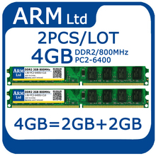 4GB=2GB+2GB DDR2 800MHZ PC2-6400 240pin 1.8V RAM Desktop memory Can compatible All Motherboard Fast shipping