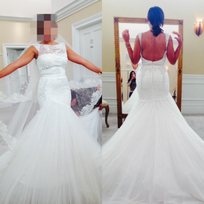 Popular mermaid cut wedding gowns buy cheap mermaid cut for Low cut mermaid wedding dress