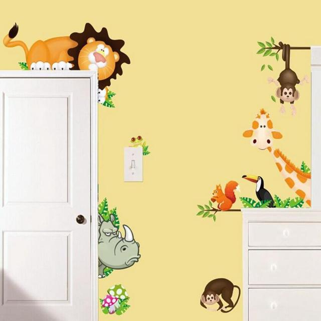 Funny Cute Jungle Animal Zoo Kids Bedroom Removable Wall Stickers ...