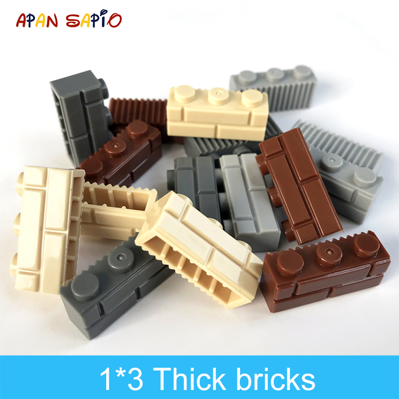 60pcs DIY Building Blocks Thick wall Figures Bricks 1x3 Dots Educational Creative Size Compatible With Brand Toys for Children