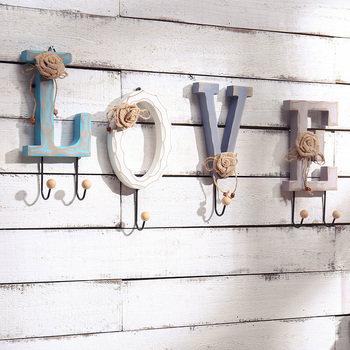 LOVE HOME Letters Lace Flower Wooden Hook Metal Hanger Decorative Wall Hook Home  Decoration Accessories Wooden
