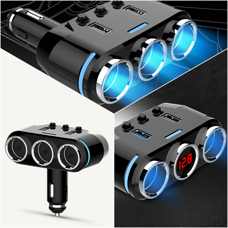 Car Cigarette Lighter Socket Splitter Plug with LED USB Charger Adapter 2