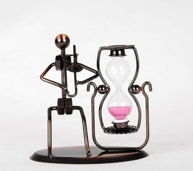 Vintage Sandglass Sand Timer Musician Model Metal Craft Collectibles Gift
