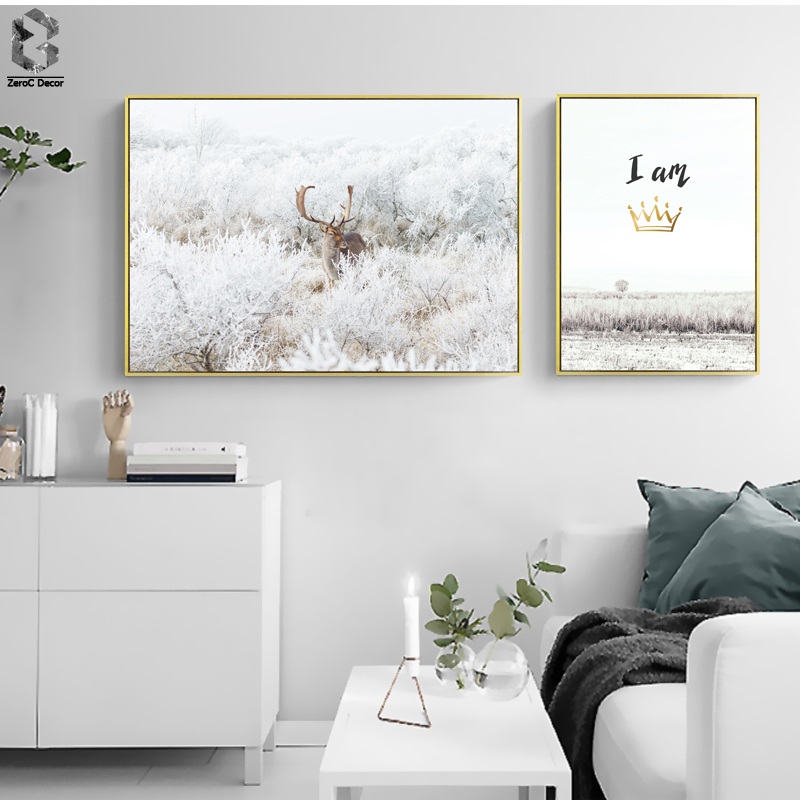 Nordic Deer Wall Art Posters And Prints, Animal Canvas Painting For Bedroom Decoration
