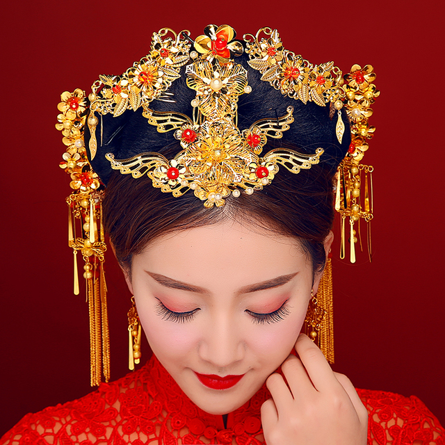 New brides suits chinese headdress fan shape tassel for Oriental accessories