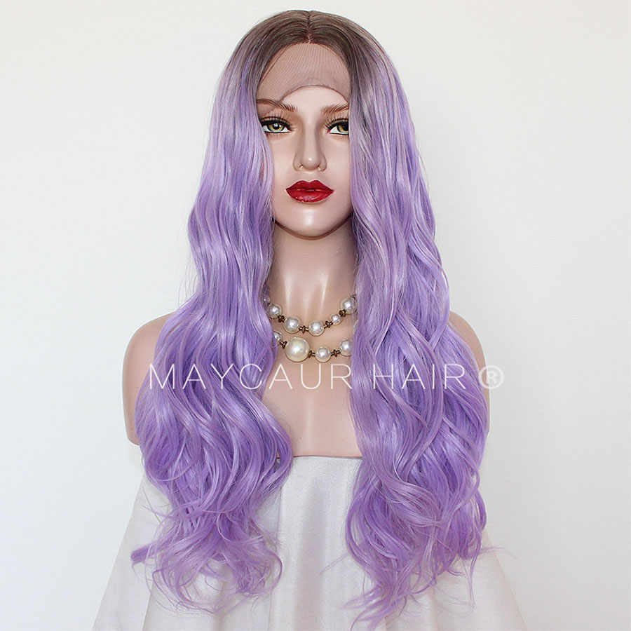 Maycaur Long Wavy Synthetic Lace Front Wigs for Black Women Black Purple Ombre Color Glueless Hair Wigs
