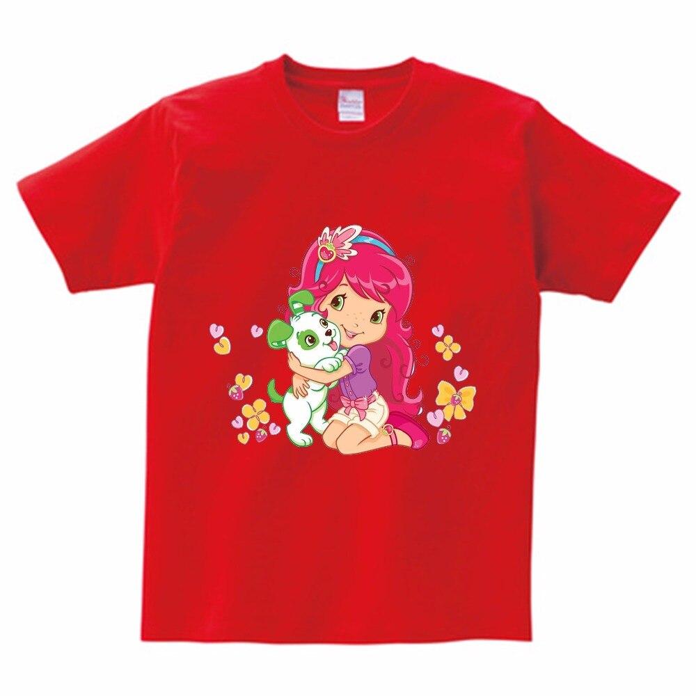 2018 girls T-shirt strawberry girl and puppy short sleeved Tshirt little girl fashion cute T-shirt summer trendy children shirt