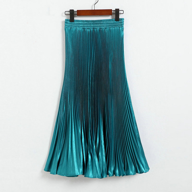 New Vintage Women Fashion European Style Long Pleated Solid Flared Skirts Ankle-Length Empire Elegant Maxi Skirt 12 colors