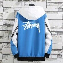 цена на Jackets Men 2019 Spring Autumn Fashion Brand Printing Windbreaker Jacket Mens Patchwork Color Hip-Hop Hooded Coats Plus Size 5XL