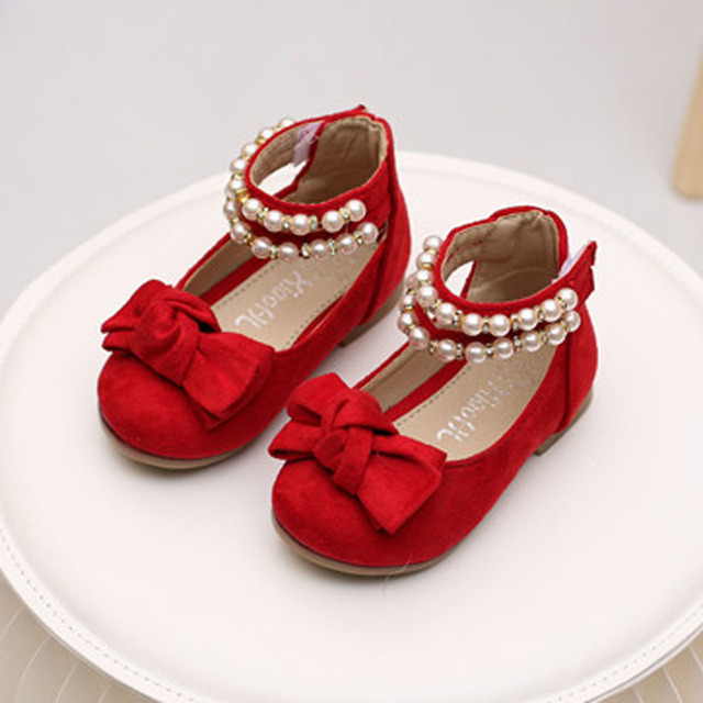 Fashion String Bead Baby Girls Shoes Pearls Strap Princess Shoes Toddlers Girl Flats Shoes 2017 Spring Infant First Walkers
