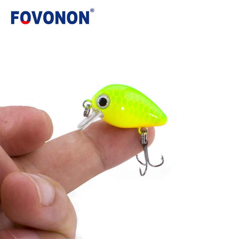 FOVONON  New  Fishing Lure 3cm 1.8g   Crankbaits 1pcs Micro Hard Pesca Artificial Baits Mini Lure Minnow for Pike Bass Trout