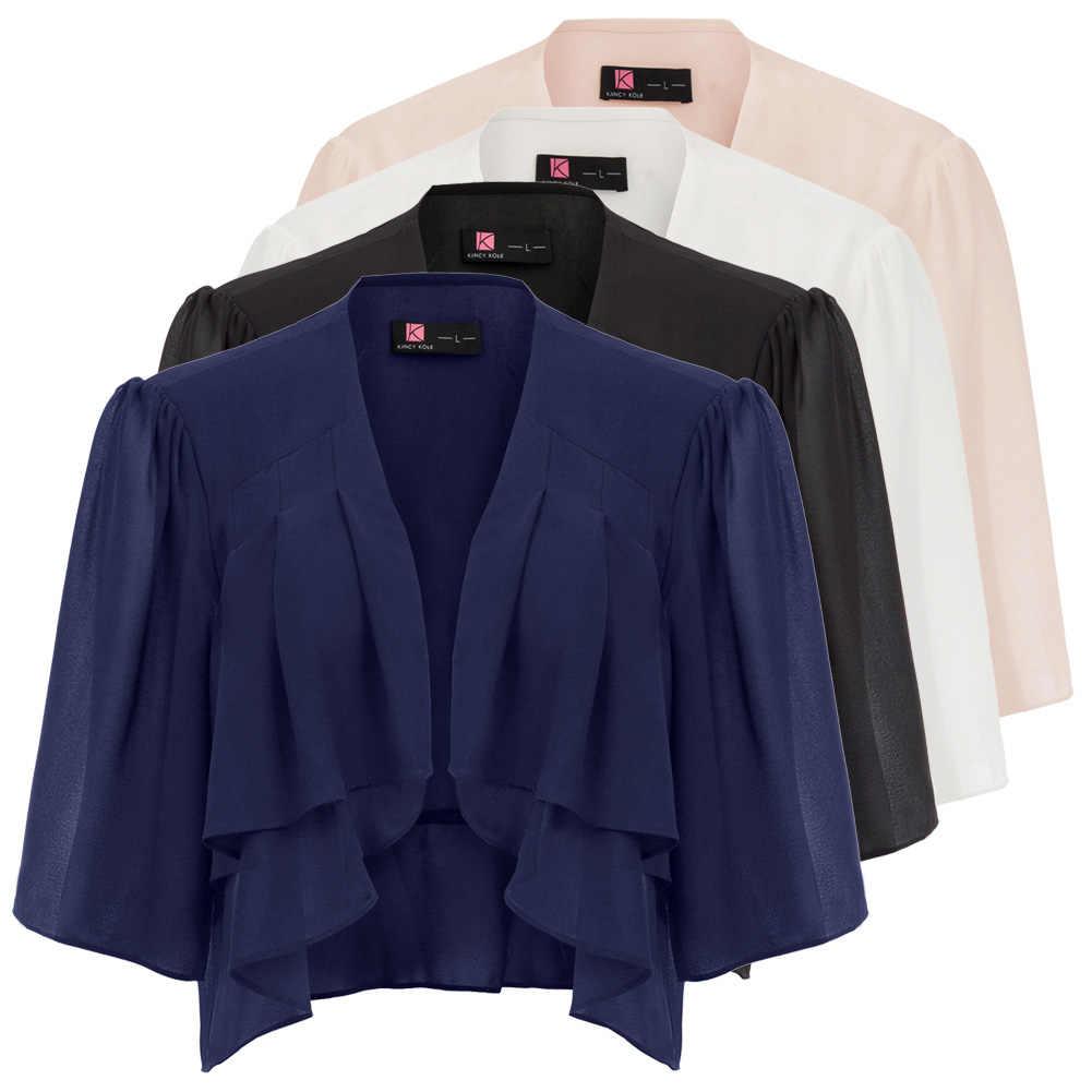 new  retro coats Women clothes Summer Lightweight three quarter Sleeve Open Front Shrug Bolero elegant party chiffon tops