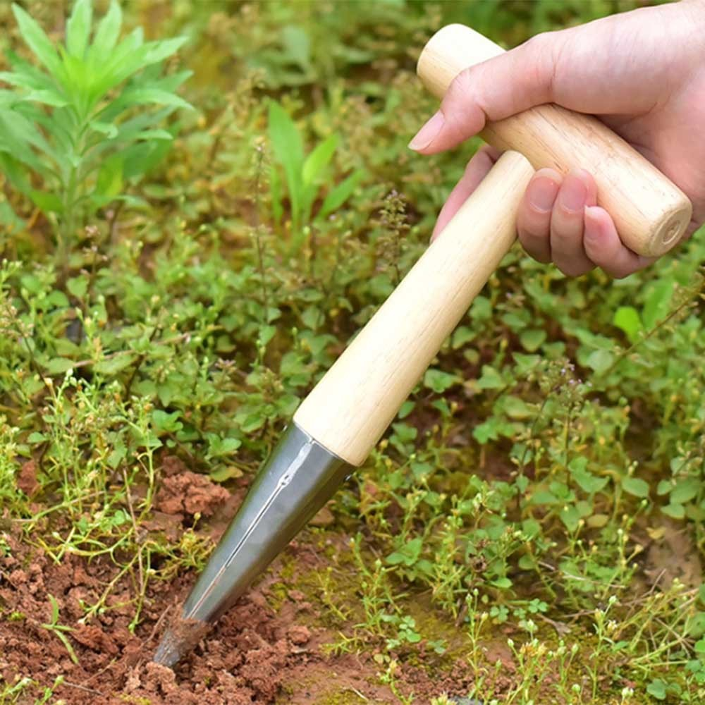 1PC Garden Sow Dibbers Steel Dibber With Wood Handle For Planting Seeds And Bulbs Hand Tools