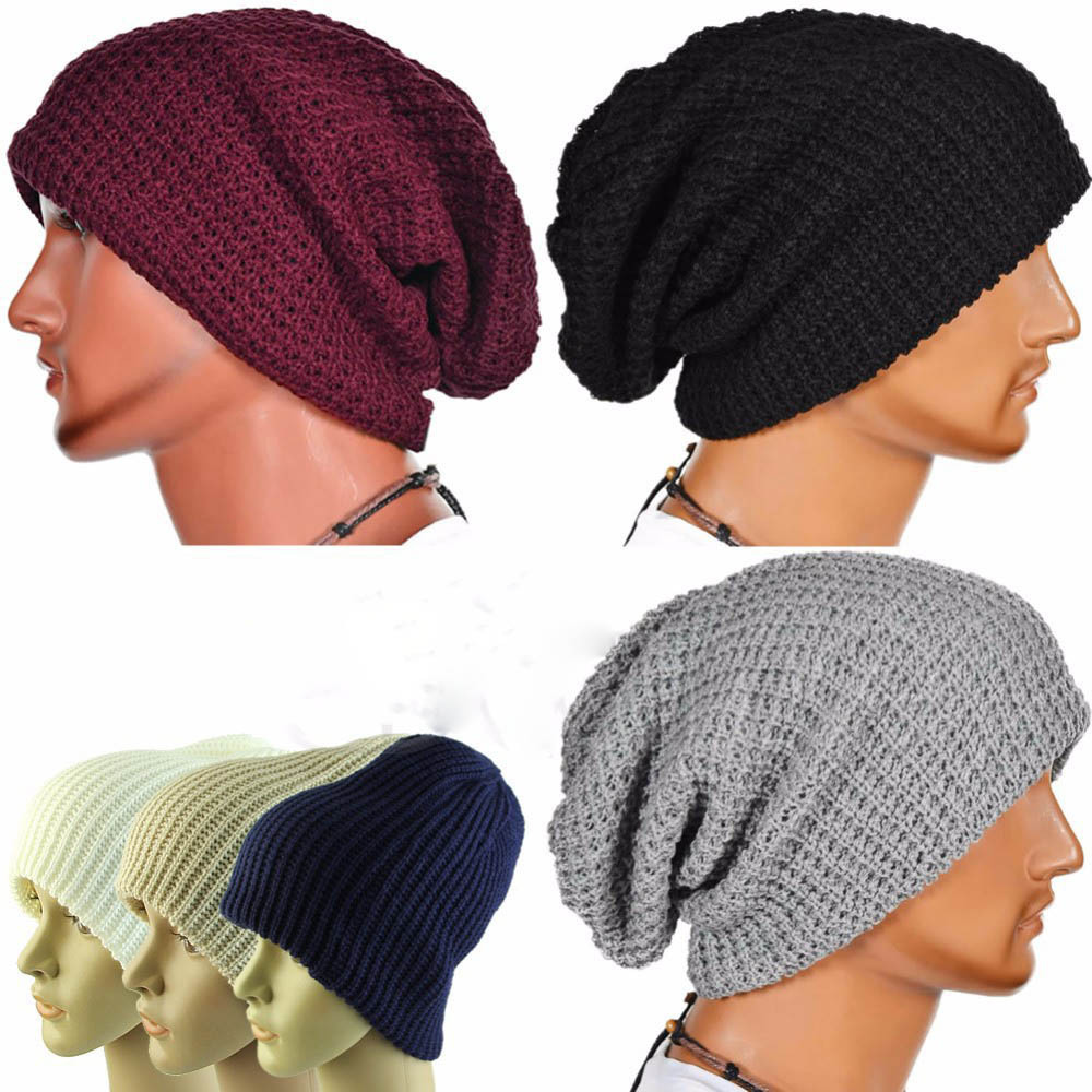 2018 Best Selling Men Fashion Knitting Slouchy Beanie Cap Baggy Vertical  Stripe Warm Winter Hat Acrylic Knitted Cap Winter Hat 096b10dc9e5